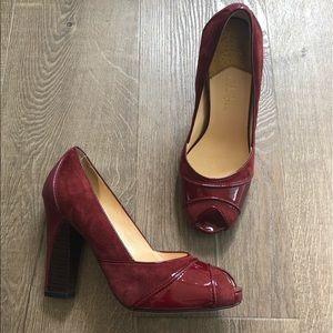 Cole Haan Dark Red Nike Air Peep Toe Suede Heels